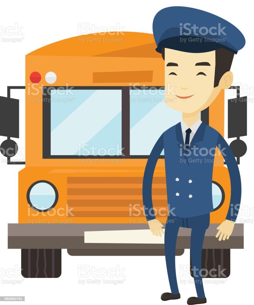 学校のバスのドライバーのベクトル図 ベクターアートイラスト