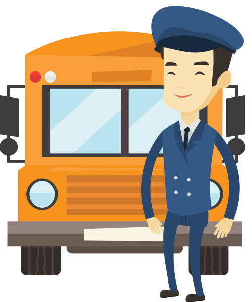 School bus driver vector illustration vector art illustration