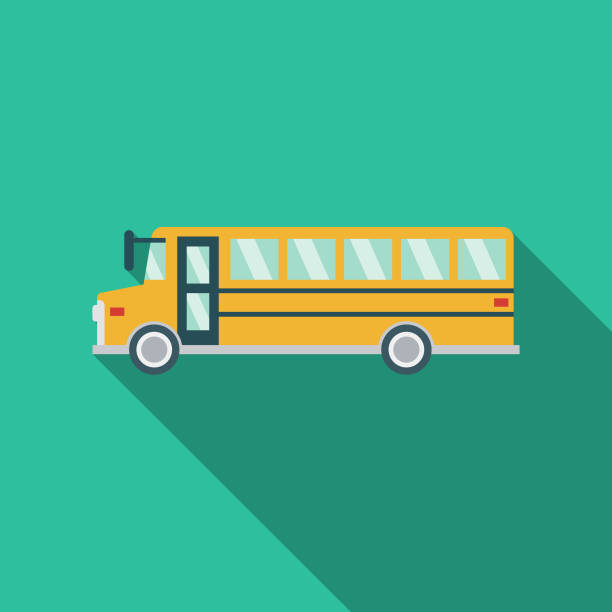 School Bus Flat Design Prom Icon A flat design icon with a long shadow. File is built in the CMYK color space for optimal printing. Color swatches are global so it's easy to change colors across the document. school buses stock illustrations