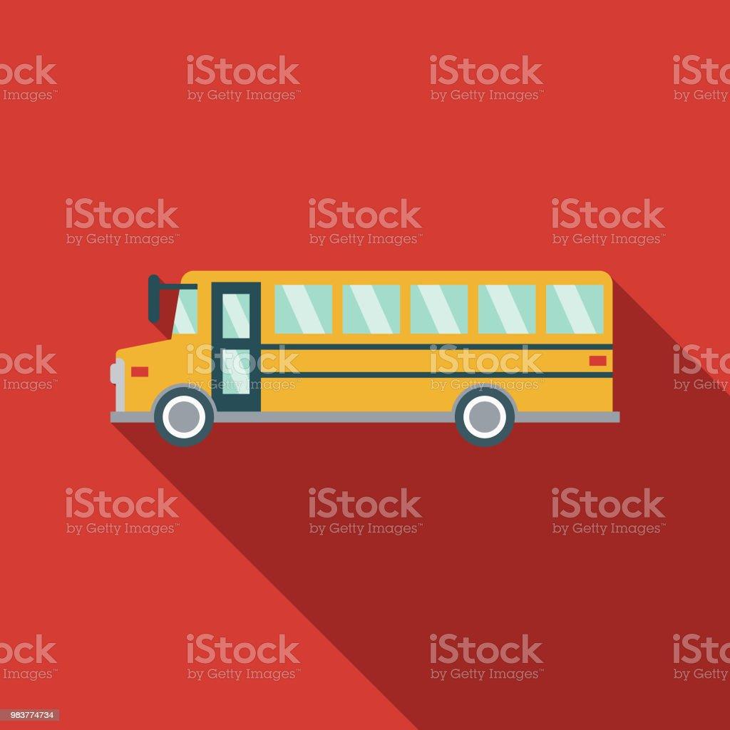 Icono de transporte de autobús escolar diseño plano - ilustración de arte vectorial