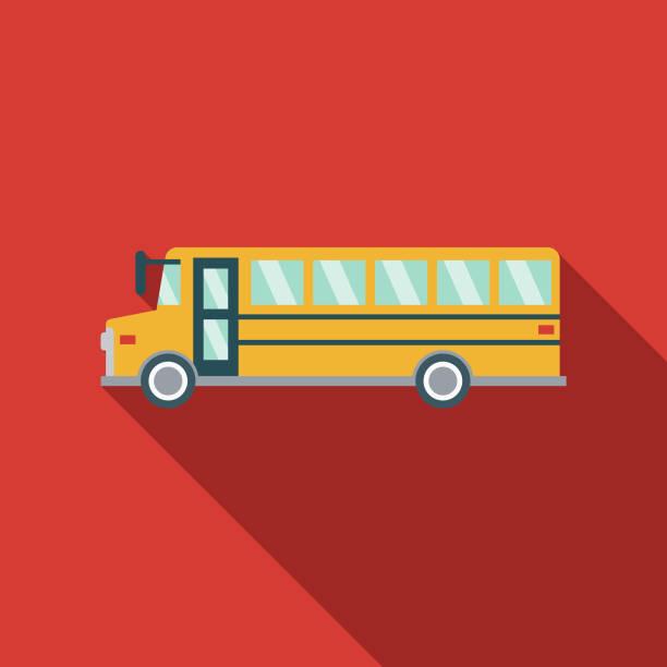 ilustraciones, imágenes clip art, dibujos animados e iconos de stock de icono de transporte de autobús escolar diseño plano - autobuses escolares