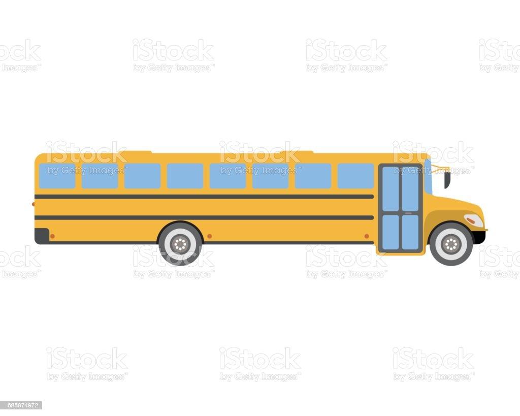 Autobus Scolaire Icône Plate Et Logo Illustration De Vecteur