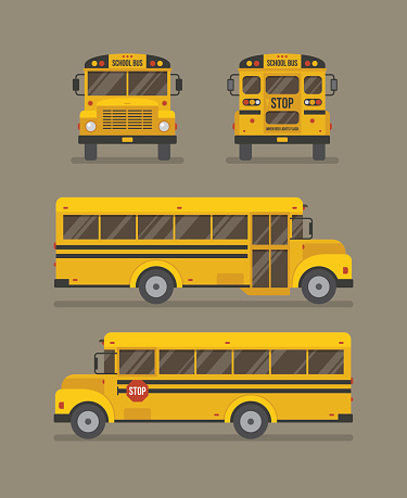 School bus flat illustration