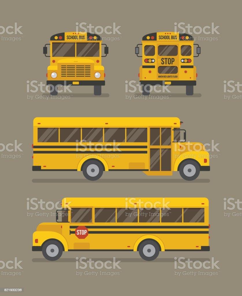 Ônibus escolar ilustração plana - ilustração de arte em vetor