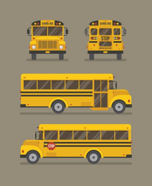 ilustrações, clipart, desenhos animados e ícones de ônibus escolar ilustração plana - ônibus escolares