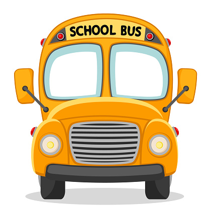 School bus front view on a white.