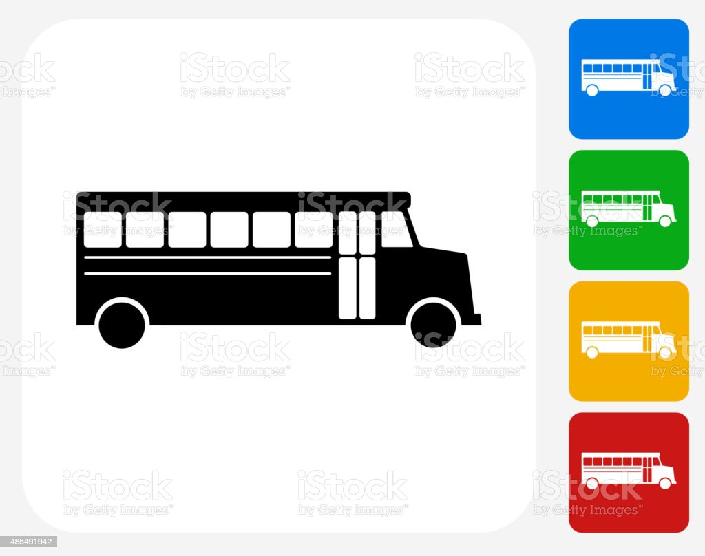 School Bus Icon Flat Graphic Design vector art illustration