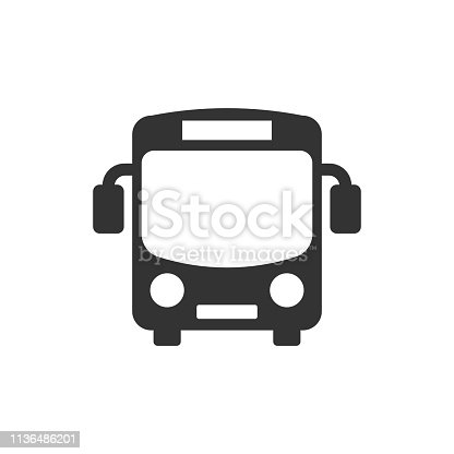 istock School bus icon in flat style. Autobus vector illustration on white isolated background. Coach transport business concept. 1136486201