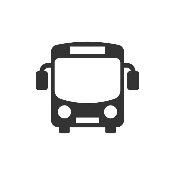 ilustraciones, imágenes clip art, dibujos animados e iconos de stock de icono de autobús escolar en estilo plano. ilustración vectorial autobus sobre fondo blanco aislado. concepto de negocio de transporte de autocares. - autobús