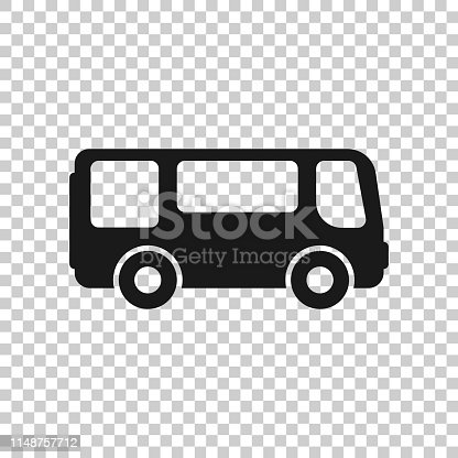 istock School bus icon in transparent style. Autobus vector illustration on isolated background. Coach transport business concept. 1148757712