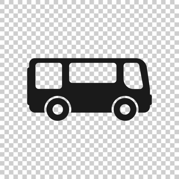 ilustraciones, imágenes clip art, dibujos animados e iconos de stock de icono de autobús escolar en estilo transparente. ilustración vectorial autobus sobre fondo aislado. concepto de negocio de transporte de autocares. - autobús