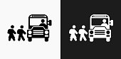 istock School Bus Icon on Black and White Vector Backgrounds 697008510
