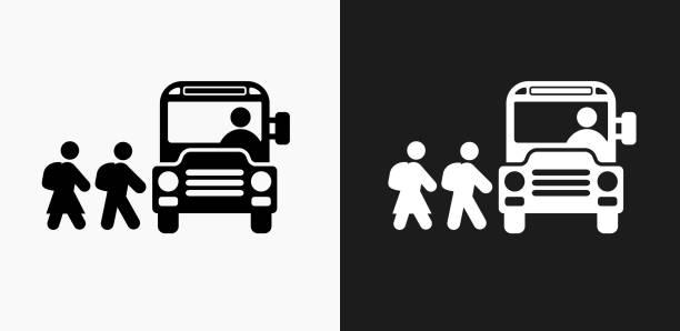 黒と白のベクトルの背景 [スクールバス] アイコン - スクールバス点のイラスト素材/クリップアート素材/マンガ素材/アイコン素材