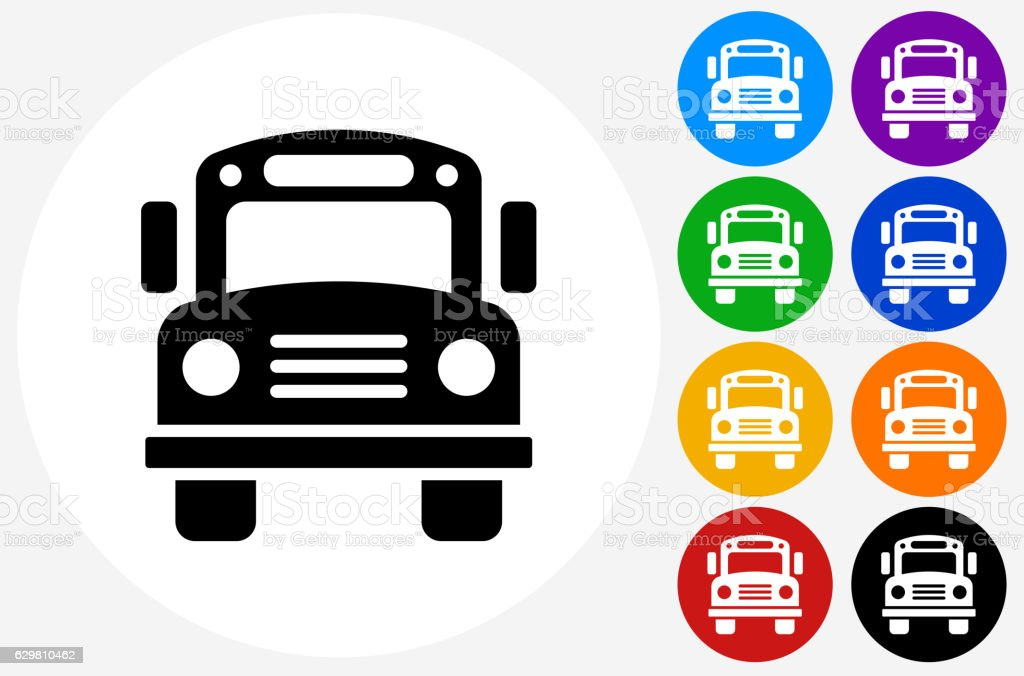 School Bus Icon on Flat Color Circle Buttons vector art illustration