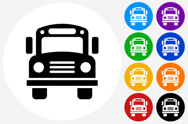 school bus icon on flat color circle buttons - スクールバス点のイラスト素材/クリップアート素材/マンガ素材/アイコン素材
