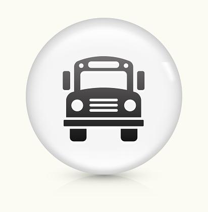 School Bus icon on white round vector button