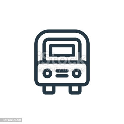 istock school bus icon vector from education concept. Thin line illustration of school bus editable stroke. school bus linear sign for use on web and mobile apps, logo, print media.. 1320664098