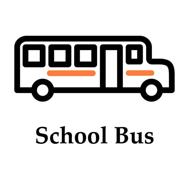 ilustraciones, imágenes clip art, dibujos animados e iconos de stock de icono del autobús escolar - suministros escolares