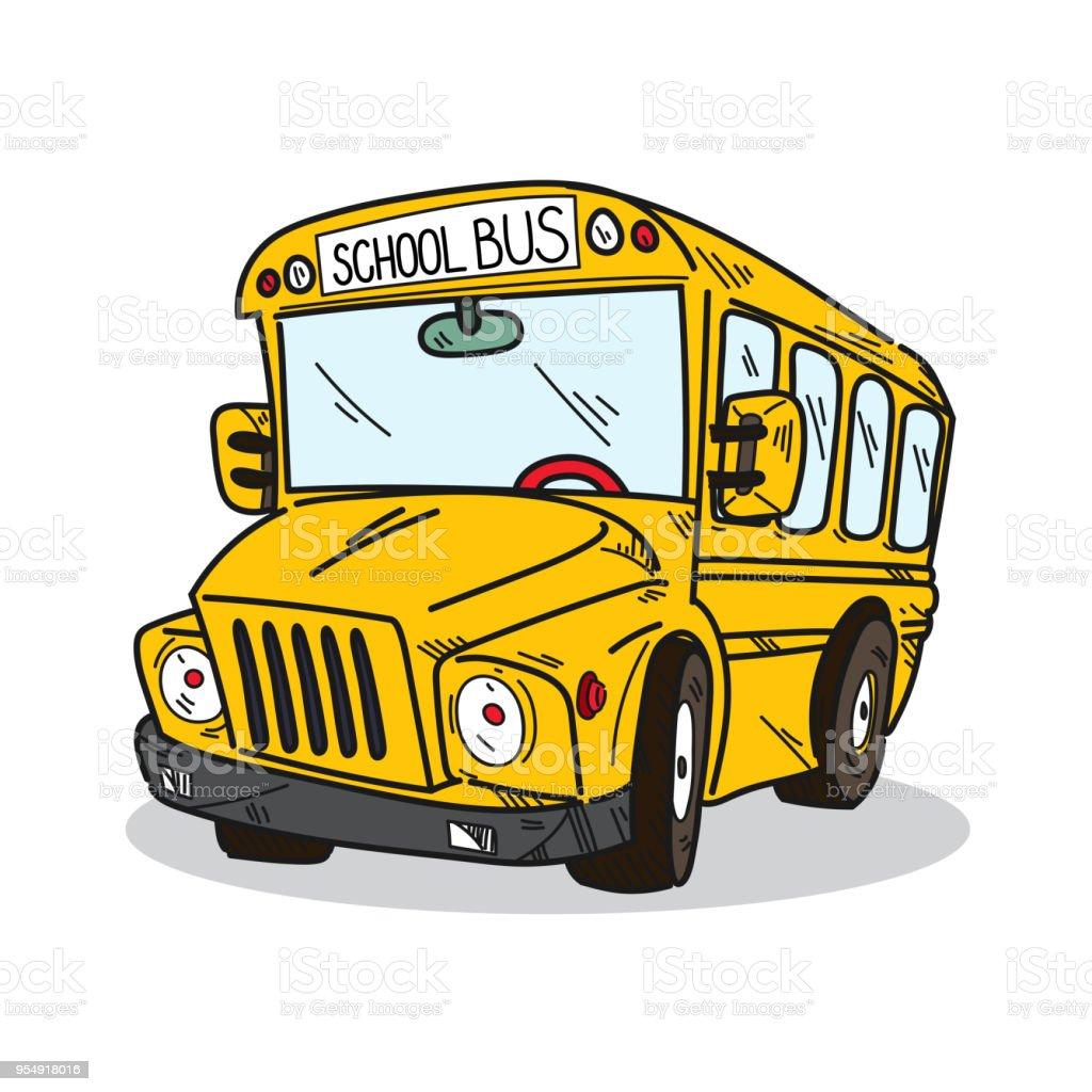 白い背景の上の学校のバス イラスト いたずら書きのベクターアート素材