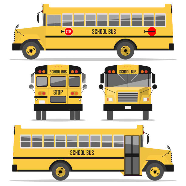ilustrações, clipart, desenhos animados e ícones de ônibus escolar. isolado no fundo branco - ônibus escolares
