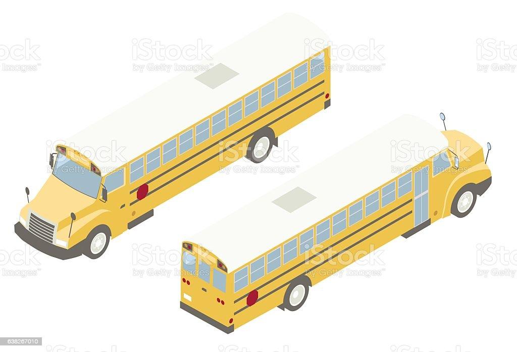 School Bus Isometric Illustration vector art illustration
