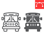 istock School bus line and glyph icon, school and education, bus sign vector graphics, editable stroke linear icon, eps 10. 1257731733