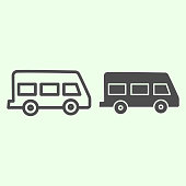 istock School bus line and solid icon. Retro minibus outline style pictogram on white background. School van for students or pupils transportation for mobile concept and web design. Vector graphics. 1211538120