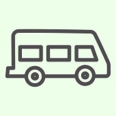 istock School bus line icon. Retro minivan or minibus outline style pictogram on white background. School van for students or pupils transportation for mobile concept and web design. Vector graphics. 1211542756