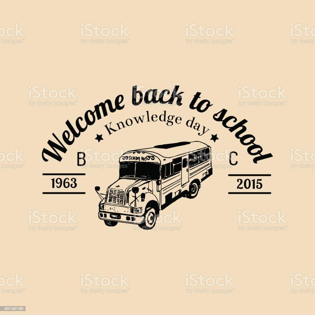 School Bus Logo Vector Vintage Back To School Icon Children