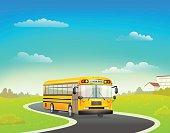 school bus on road. vector illustration