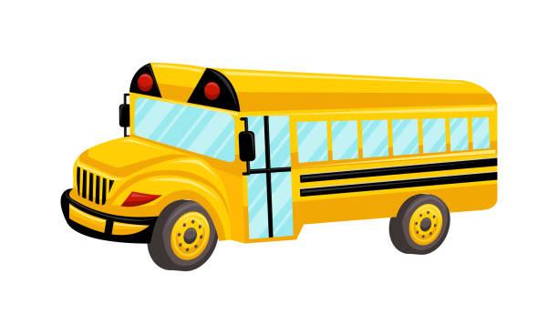 ilustrações, clipart, desenhos animados e ícones de ônibus escolar modelo vector design isolado - ônibus escolares