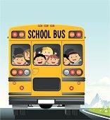 Children in school bus.