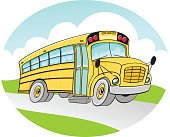 School Bus in vector format in a circle