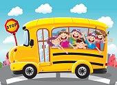 Happy children on school bus,vector illustration
