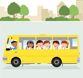 Vector illustration of a school driver and happy school kids on the road.