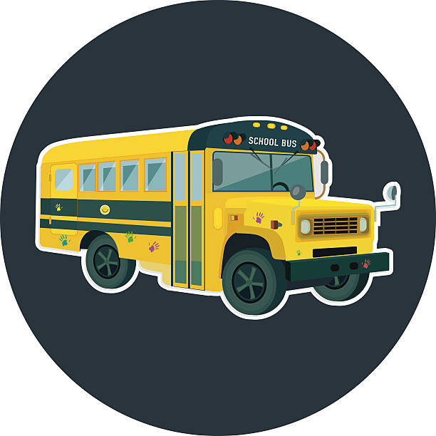 Royalty Free Frame With Yellow School Bus Clip Art Vector Images