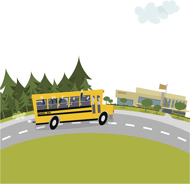 ilustraciones, imágenes clip art, dibujos animados e iconos de stock de autobús de colegio - autobuses escolares