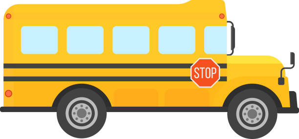 illustrations, cliparts, dessins animés et icônes de school bus vector isolated - bus scolaires