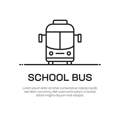 School Bus Vector Line Icon - Simple Thin Line Icon, Premium Quality Design Element