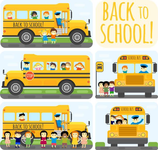 ilustrações, clipart, desenhos animados e ícones de ônibus escolar vetor definido. - ônibus escolares