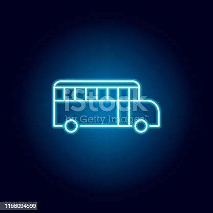 school bus, vehicle outline icon in neon style. elements of education illustration line icon. signs, symbols can be used for web, logo, mobile app, UI, UX on black background