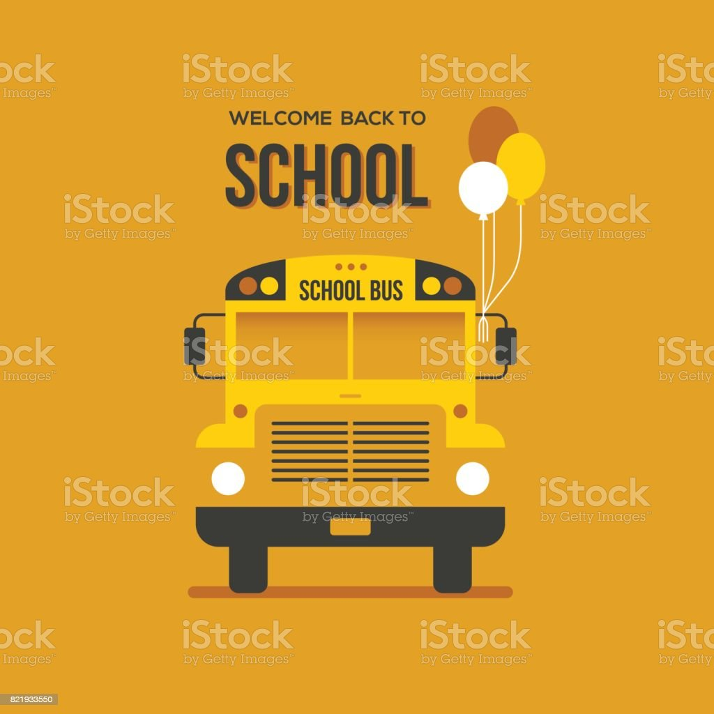 School bus with balloons vector art illustration