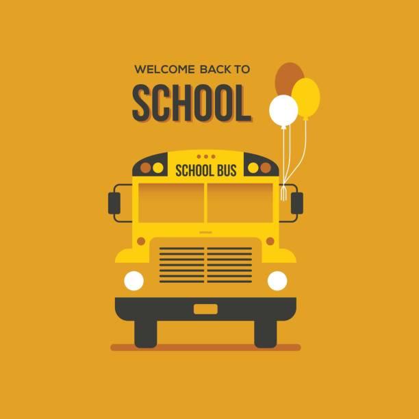 School bus with balloons vector art illustration