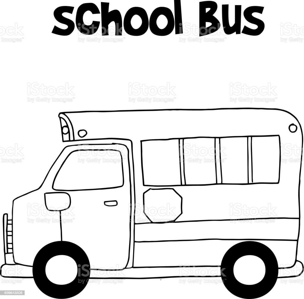school bus with hand draw vector royalty free stock vector art