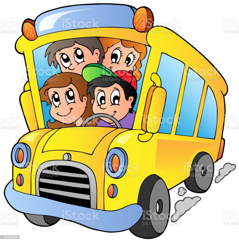 school bus with happy children stock vector art more images of art rh istockphoto com Animated School Bus Clip Art School Buses Clip Art