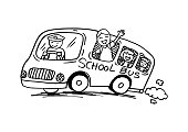School bus with happy children.Cartoon style.