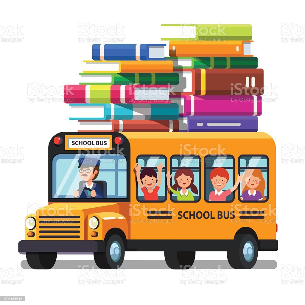 School bus with kids and lots of books luggage – Vektorgrafik