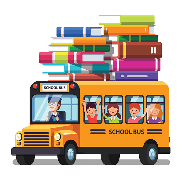 School bus with kids and lots of books luggage vector art illustration