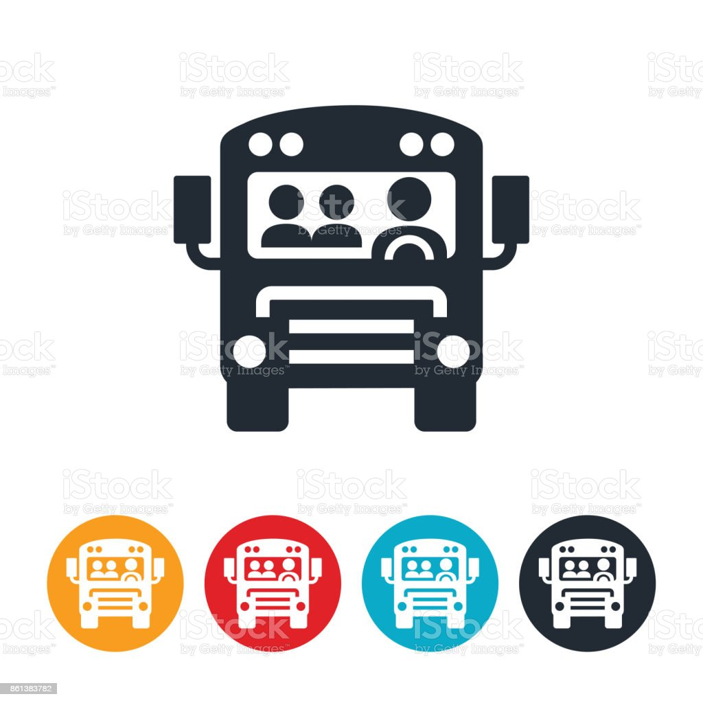School Bus With Students Icon vector art illustration