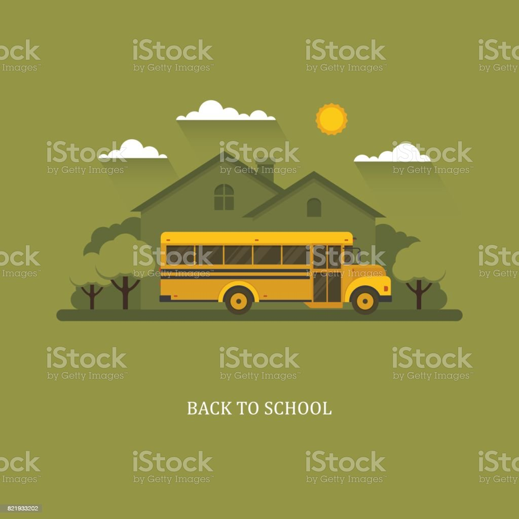 School bus with suburban house on a background. vector art illustration